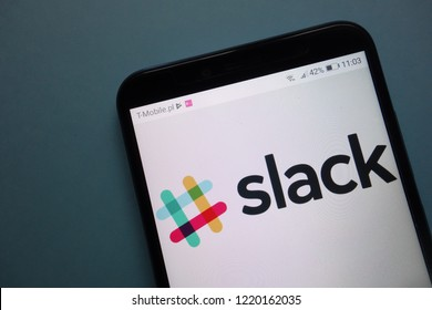 KONSKIE, POLAND - November 03, 2018: Slack logo on smartphone