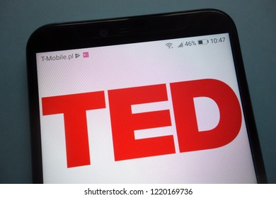 KONSKIE, POLAND - November 03, 2018: TED Conferences LLC (Technology, Entertainment, Design) logo on smartphone