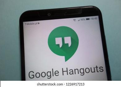 KONSKIE, POLAND - November 10, 2018: Google Hangouts logo on  smartphone