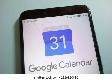 KONSKIE, POLAND - November 10, 2018: Google Calendar logo on  smartphone