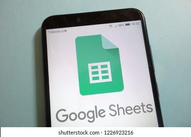 KONSKIE, POLAND - November 10, 2018: Google Sheets logo on smartphone