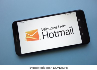 KONSKIE, POLAND - November 12, 2018: Windows Live Hotmail logo  displayed on smartphone