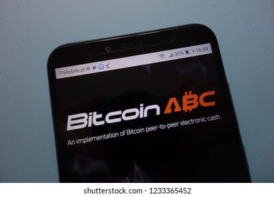 KONSKIE, POLAND - November 17, 2018: Bitcoin ABC logo displayed on smartphone