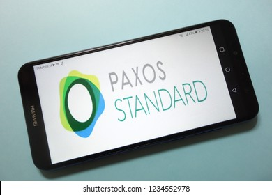 KONSKIE, POLAND - November 17, 2018: Paxos Standard (PAX) cryptocurrency logo displayed on smartphone