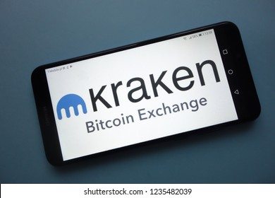 KONSKIE, POLAND - November 18, 2018: Kraken cryptocurrency exchange logo displayed on smartphone