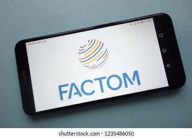 KONSKIE, POLAND - November 18, 2018: Factom (FCT) cryptocurrency logo displayed on smartphone