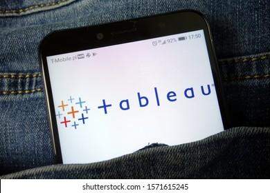 KONSKIE, POLAND - November 24, 2019: Tableau Software Inc logo displayed on mobile phone