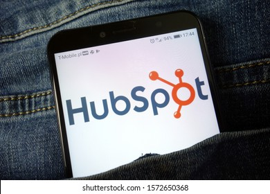 KONSKIE, POLAND - November 24, 2019: HubSpot Inc logo displayed on mobile phone