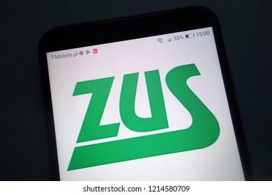 KONSKIE, POLAND - OCTOBER 28, 2018: ZUS (Polish: Zaklad Ubezpieczen Spolecznych) logo on smartphone