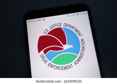 KONSKIE, POLAND - OCTOBER 28, 2018: Drug Enforcement Administration (DEA) logo on smartphone