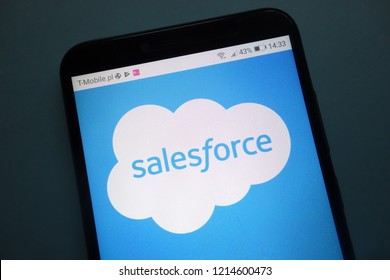 KONSKIE, POLAND - OCTOBER 28, 2018: Salesforce logo on smartphone