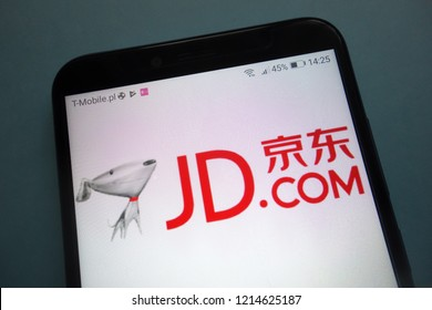 KONSKIE, POLAND - OCTOBER 28, 2018: JD.com logo on smartphone