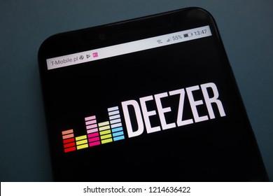 KONSKIE, POLAND - OCTOBER 28, 2018: Deezer logo on smartphone
