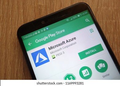KONSKIE, POLAND - SEPTEMBER 01, 2018: Microsoft Azure app on Google Play Store displayed on a modern smartphone