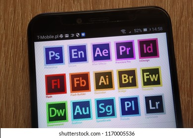 KONSKIE, POLAND - SEPTEMBER 01, 2018: Adobe Systems logos displayed on a modern smartphone