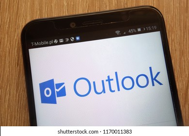 KONSKIE, POLAND - SEPTEMBER 01, 2018: Outlook logo displayed on a modern smartphone