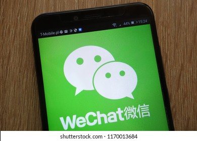 KONSKIE, POLAND - SEPTEMBER 01, 2018: WeChat logo displayed on a modern smartphone