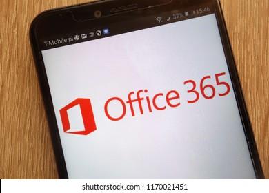 KONSKIE, POLAND - SEPTEMBER 01, 2018: Microsoft Office 365 logo displayed on a modern smartphone