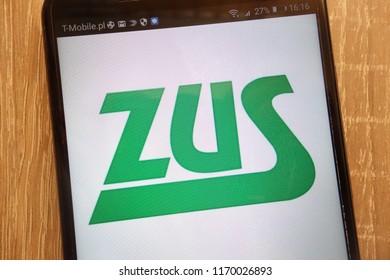 KONSKIE, POLAND - SEPTEMBER 01, 2018: ZUS (Polish: Zaklad Ubezpieczen Spolecznych) logo displayed on a modern smartphone