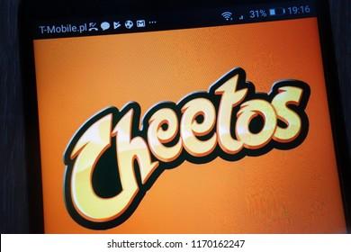 KONSKIE, POLAND - SEPTEMBER 01, 2018: Cheetos logo displayed on a modern smartphone