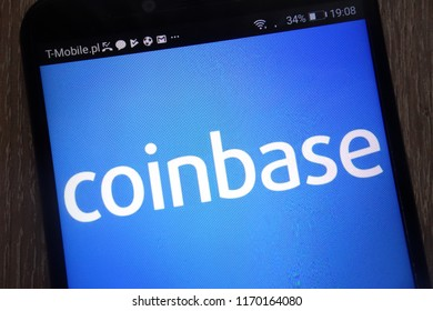 KONSKIE, POLAND - SEPTEMBER 01, 2018: Coinbase logo displayed on a modern smartphone