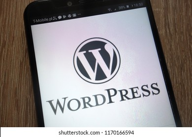 KONSKIE, POLAND - SEPTEMBER 01, 2018: WordPress logo displayed on a modern smartphone