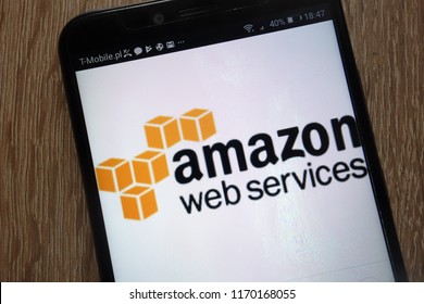 KONSKIE, POLAND - SEPTEMBER 01, 2018: Amazon Web Services logo displayed on a modern smartphone