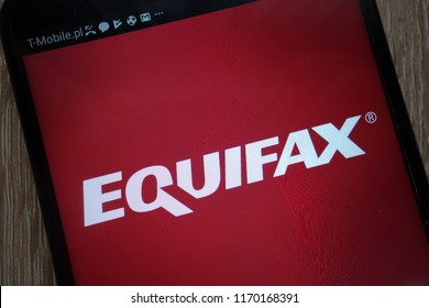 KONSKIE, POLAND - SEPTEMBER 01, 2018: Equifax logo displayed on a modern smartphone