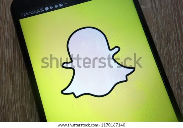 KONSKIE, POLAND - SEPTEMBER 01, 2018: Snapchat logo displayed on a modern smartphone