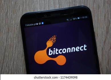 KONSKIE, POLAND - SEPTEMBER 06, 2018: BitConnect logo displayed on a modern smartphone