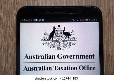 KONSKIE, POLAND - SEPTEMBER 06, 2018: Australian Government - Australian Taxation Office logo displayed on a modern smartphone