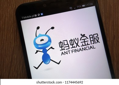 KONSKIE, POLAND - SEPTEMBER 06, 2018: Ant Financial logo displayed on a modern smartphone