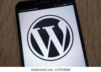 KONSKIE, POLAND - SEPTEMBER 07, 2018: WordPress logo displayed on a modern smartphone