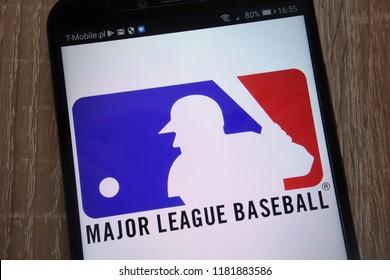 KONSKIE, POLAND - SEPTEMBER 07, 2018: Major League Baseball logo displayed on a modern smartphone