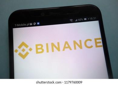 KONSKIE, POLAND - SEPTEMBER 08, 2018: Binance logo on a smartphone