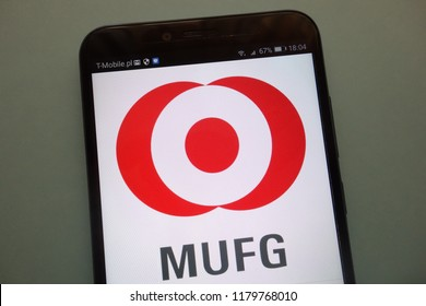 KONSKIE, POLAND - SEPTEMBER 08, 2018: The Bank of Tokyo - Mitsubishi UFJ Financial Group logo on a smartphone
