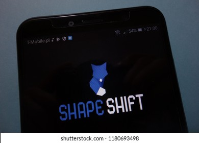 KONSKIE, POLAND - SEPTEMBER 15, 2018: ShapeShift logo on smartphone
