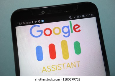 KONSKIE, POLAND - SEPTEMBER 15, 2018: Google Assistant logo on smartphone