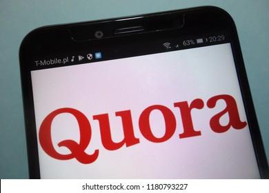 KONSKIE, POLAND - SEPTEMBER 15, 2018: Quora logo on smartphone