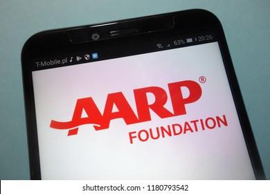 KONSKIE, POLAND - SEPTEMBER 15, 2018: AARP (American Association of Retired Persons) foundation logo on smartphone