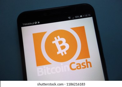 KONSKIE, POLAND - SEPTEMBER 22, 2018: Bitcoin Cash cryptocurrency logo on smartphone