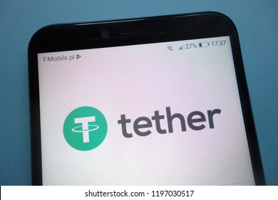 KONSKIE, POLAND - SEPTEMBER 29, 2018: Tether cryptocurrency logo on smartphone