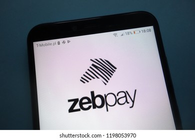 KONSKIE, POLAND - SEPTEMBER 29, 2018: Zebpay logo on smartphone