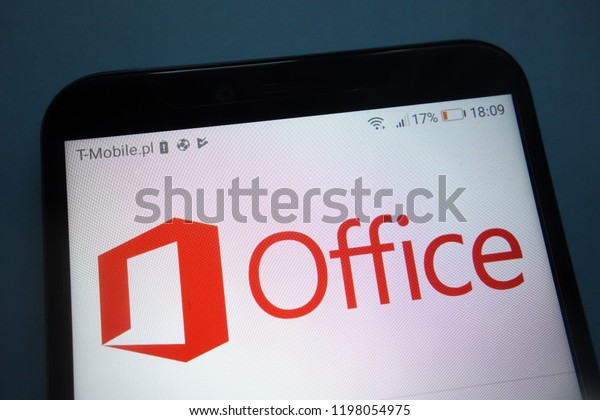 KONSKIE, POLAND - SEPTEMBER 29, 2018: Microsoft Office logo on smartphone