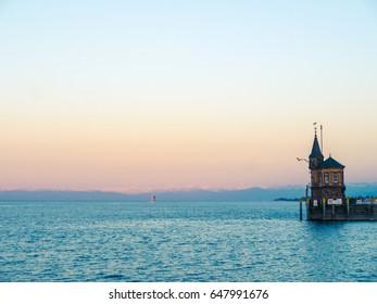 Konstanz Harbor at Lake Constance at sunset