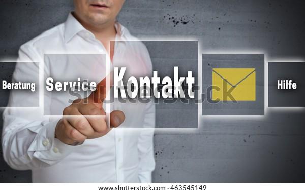 Kontakt (in german contact, help, advice) touchscreen concept background.