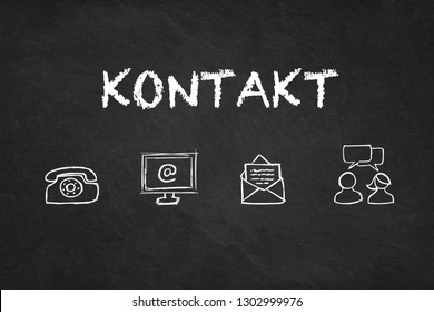 """""""Kontakt"""" text and icons on a blackboard. Translation: """"Contact"""""""