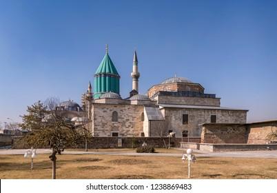 KONYA, TURKEY - 10 FEBRUARY 2016: The Famous Sufi Mevlana Tomb, February 10, 2016 in Konya, Turkey. The anniversary of Mevlana's death is celebrated for 744 years with 'Seb-i Aruz'.