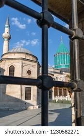 KONYA, TURKEY - 11 NOVEMBER 2018: The Famous Sufi Mevlana Tomb, November 11, 2018 in Konya, Turkey. Tomb of Mevlana, the founder of Mevlevi sufi dervish order.