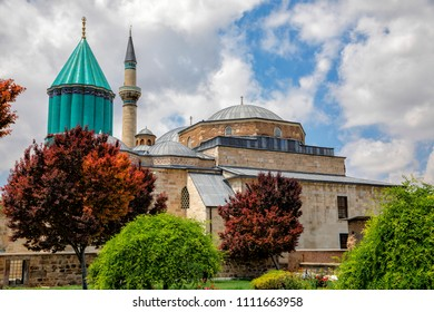 Konya, Turkey - 13 May 2018: people visit Konya Mevlana Museum from the garden of tulips and the mausoleum of Mevlana, 13 MAY